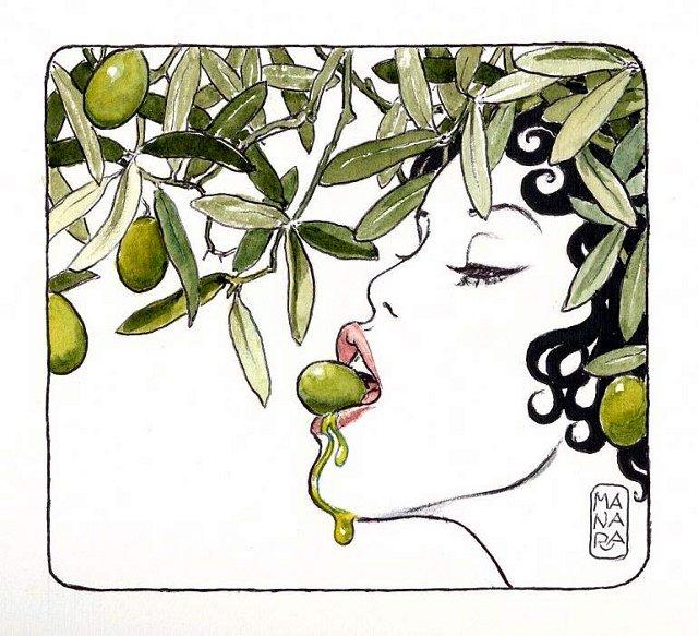 Illustration de Manara pour le bistrot del lulivo