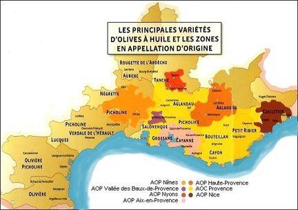 carte des variétés et aoc huiles d'olive en France