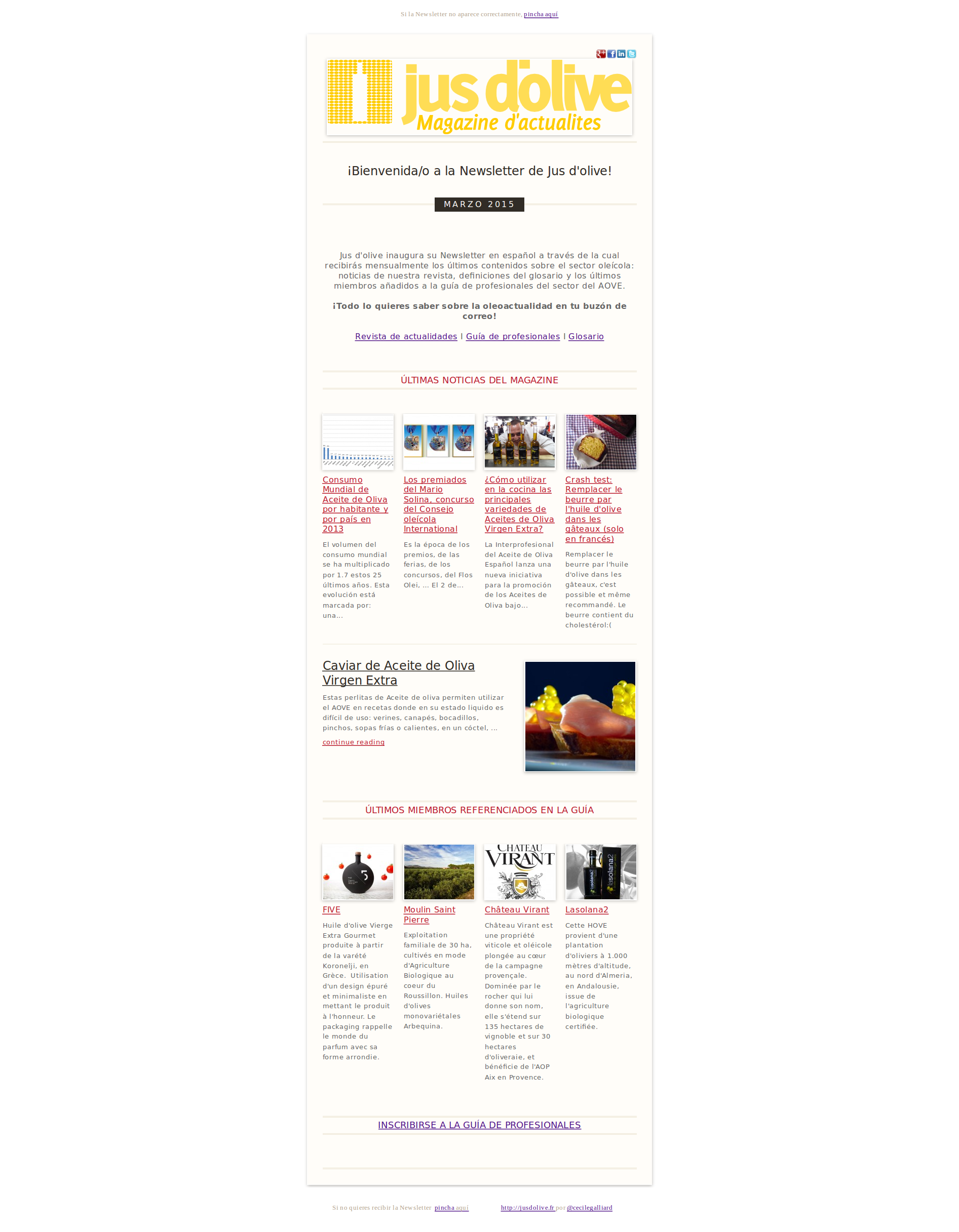 Newsletter mensuela jus d'olive