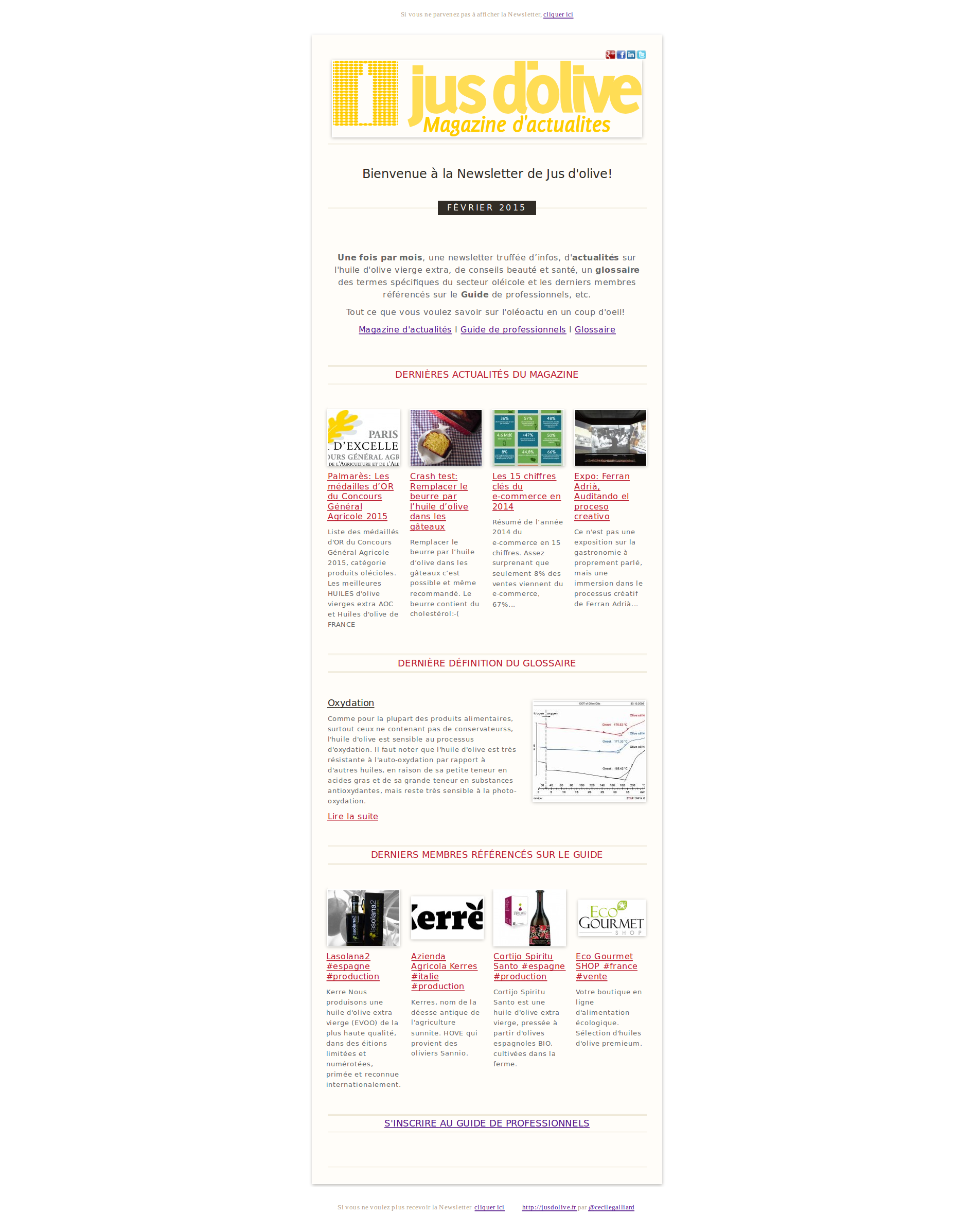 newsletter mensuelle jus d'olive