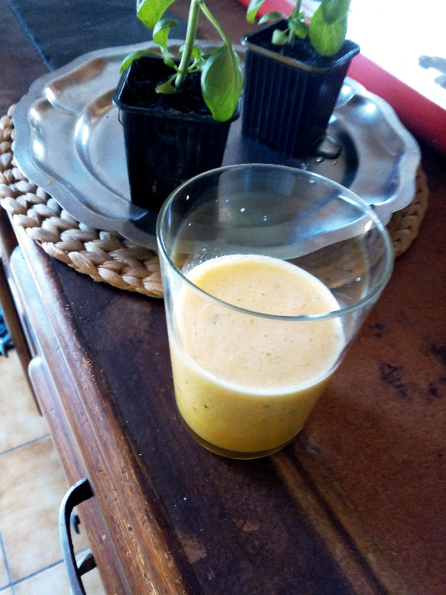 jus de fruits melon huile d'olive basilic