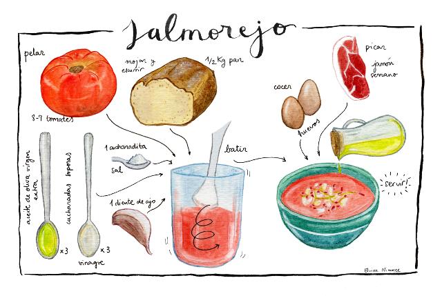 recette de Salmorelo la célèbre soupe froide du sud de l'Espagne à base d'huile d'olive vierge extra